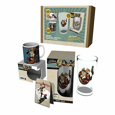 Pack Harley Quinn - Mug,Glass and Card Holder - Dc Bombshell - Official Product