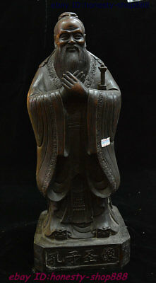 Old Chinese  Pure Bronze Famous Politician Confucius KongZi Hold  Stand Statue