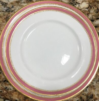 """(11) c.1872 MINTON Pink & Gold dots 10.25"""" DINNER PLATES + 1 LUNCHEON PLT #S1031"""