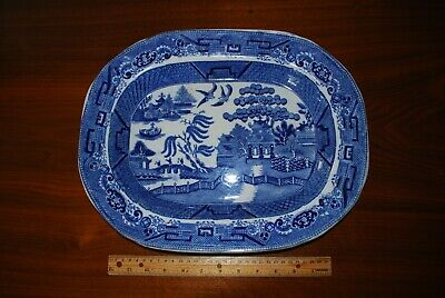 Early W. A. & Co. T. Staffordshire England Blue Willow Platter - 15 1/2 Diameter