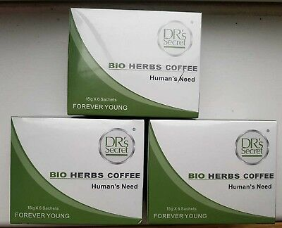 X3 BOXES OF DRS SECRET BIO HERB COFFEE.  6 sachets--HALAL (10% OFF)