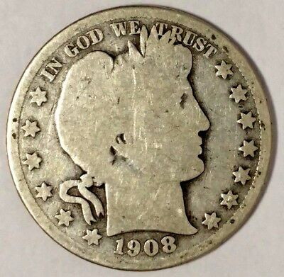 1908-D 50C Barber Half Dollar, 18wcl1802 90% Silver 50 Cents Shipping
