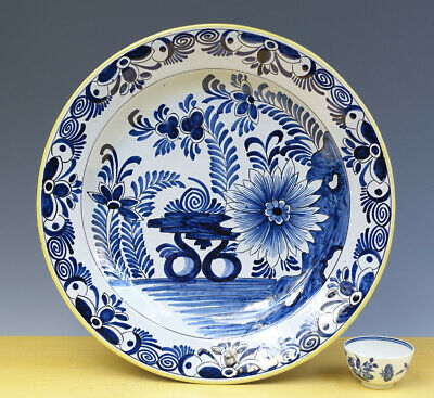 Antique Large Dutch Delft Charger Floral & Flowers 19TH C.MARKED