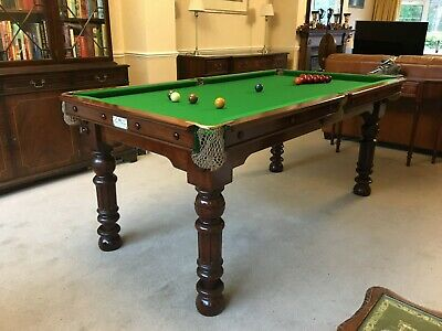ANTIQUE GEORGE EDWARDS 6X3 SLATE POOL SNOOKER TABLE NEW RE COVER Circa 1880s