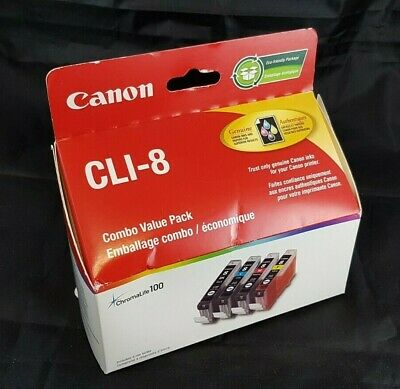 Canon CLI 8 Printer Ink Cartridges Black Cyan Magenta Yellow Combo Value Pack
