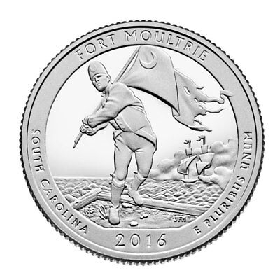 2016-S Fort Moultrie National Park Quarter - Deep Cameo Clad Proof