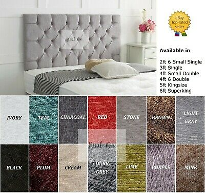"""24"""" Bed Headboard Chesterfield Chenille Fabric by Kurl On *Choose Colours & Size"""