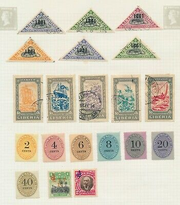 LIBERIA STAMPS 1894-1920s: 6 SUPER ALBUM PAGES OFFICIALS ERRORS & REG, MAINLY VF