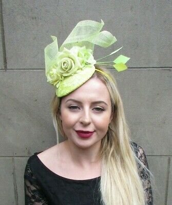 Lemon Light Pale Lime Green Yellow Flower Feather Hat Hair Fascinator Races 6976
