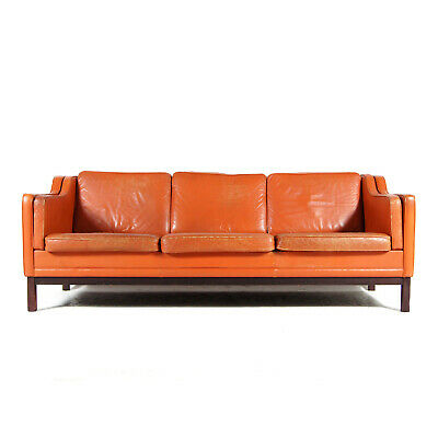 Retro Vintage Danish Leather 3 Seat Seater Sofa 60s Mid Century Mogensen 1970s