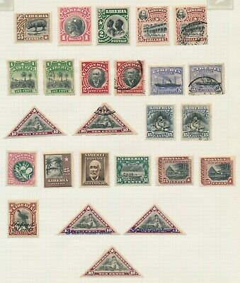 Liberia Stamps 1910-1920 3 Album Pages Inc 1916 Strip 1918 Red Cross Imperf Pair