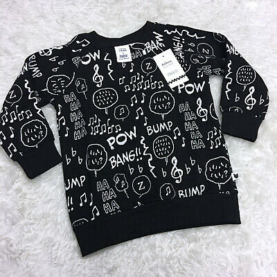 Tobias & and the Bear Black Peanuts Music Notes Sweatshirt Top Unisex 0-3m 3-4y
