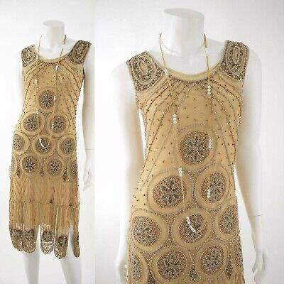 1920s Style Gold Beaded Flapper Dress-Art Deco Wedding-Gatsby Party-NWT-S