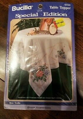 Vintage Bucilla ROSE TRELLIS Table Topper Embroidery Pattern Printed #63343