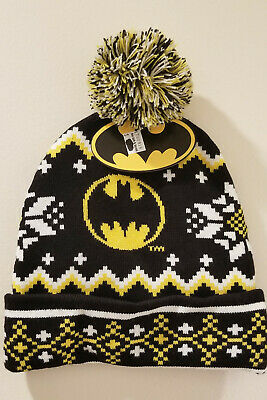watch 7c49f 7b1ed BATMAN DC COMICS Ugly Sweater Knit Cap Hat Beanie New w Tag Joker Robin  Harley