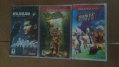 sony psp - 3 games bundle, metal gear solid, daxter, sonic rivals