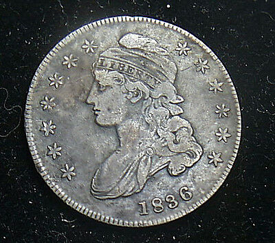 US 1836 Capped Bust Silver 50¢ Half Dollar, Lettered Edge Very Nice  FS