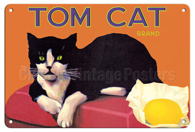 Tom Cat California Lemons - 1920s Vintage Fruit Crate Label Metal Tin Sign