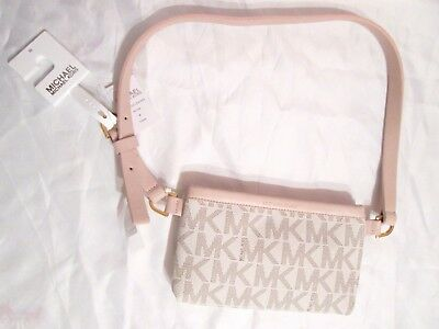 5baf03aaa3 Michael Kors signature mini Fanny belt bag size Medium white w light pink  NWT