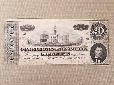 1864 $20 Dollar Bill Confederate States Currency Civil War Note Paper Money