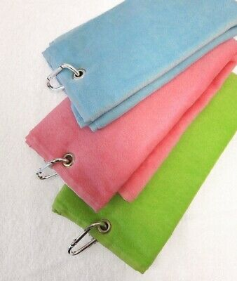 (Lime Green) - Tri-Fold Velour Sports Golf Towel Accessory in Lime Green