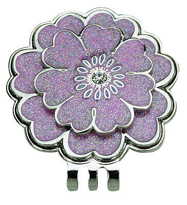 (Pink) - Navika Flower Crystal and Glitz Ball Marker with Matching Hat Clip