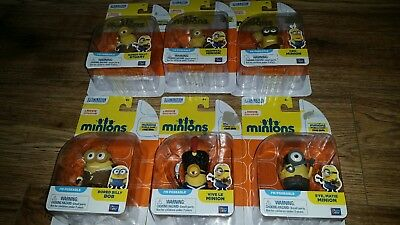 """New Despicable Me Minions Poseable 2"""" Action Figures Lot Of 6"""