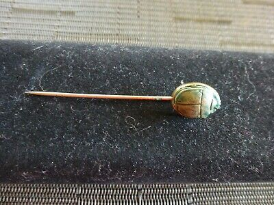 Ancient Blue Glazed Carved  Soapstone Egyptian Cartouche Scarab Beetle Stick Pin