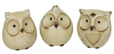 French Country Vintage Inspired Set of 3 Cream Owl Ornaments New