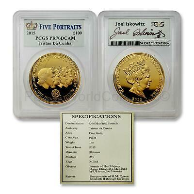 Tristan Da Cunha 2015 Five Portraits 100 Pounds Gold PCGS PR70 DCAM SKU#7123