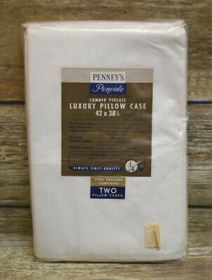 2 Vtg New JC Penney Pencale Percale Pillow Cases White 42x38.5