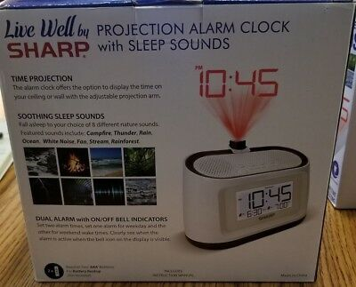 SHARP PROJECTION ALARM Clock with Sleep Sounds New in Box Ships from