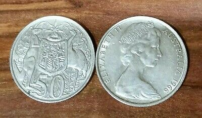 1966 Australian Elizabeth II Round Silver 50 Cent Coin - 80% Silver Priced each.