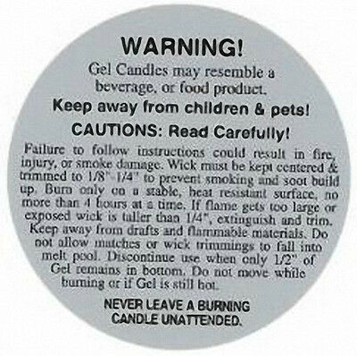 Safety & Burning Instruction Labels (2 inches) for GEL Candles (Lot of 100)