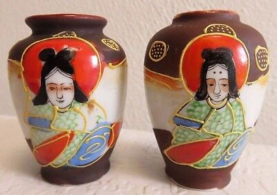 2 Vintage Japanese Satsuma Style Moriage Mini Vases Immortals, Made in Japan