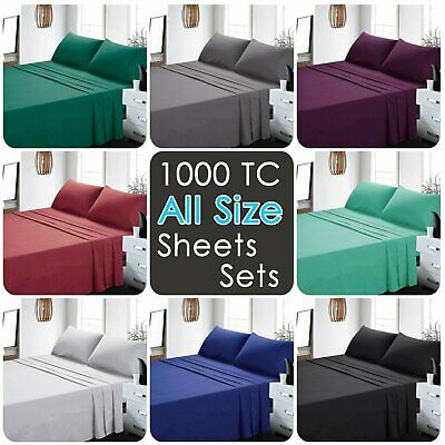 1000TC 4 Pieces Ultra SOFT Bed Linen Sheets Sets Fr Single/KS/Double/Queen/King