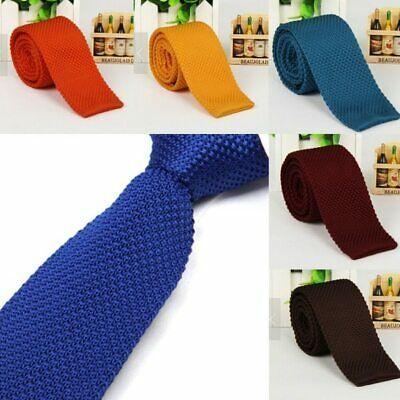 Stylish Men Solid Color Slim Skinny Woven Knit Knitted Tie Narrow Necktie