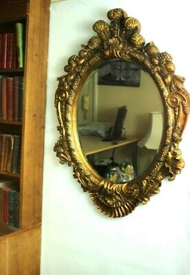Large Reproduction Antique Ornate Gilt Florentine Mirror - FREE Shipping [P4914]