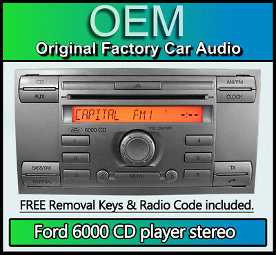 Ford 6000 CD player, Ford Transit car stereo headunit + removal keys SILVER