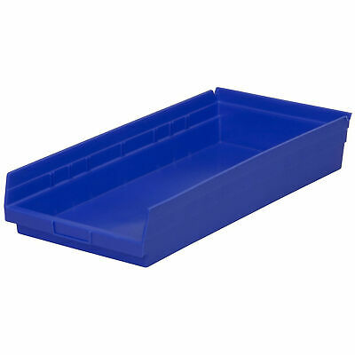 "Akro-Mils Plastic Shelf Bin, Nestable, 11-1/8""W x 17-5/8""D x 4""H, Blue, Lot of"