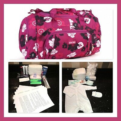 Pre-packed budget maternity/hospital/labour bag in fuchsia & black flower print