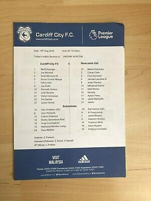 Cardiff City v Newcastle United- Official Teamsheet-August 18th 2018-Mint
