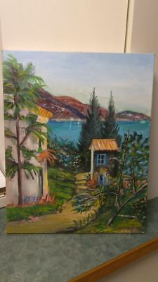 Acrylic on Canvas Painting 20 in. x 16 in., Entitled Tropical Paradise 1997