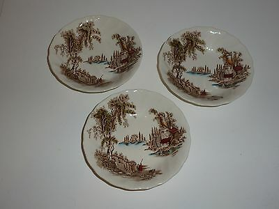 Vintage Johnson Brothers England The Old Mill Set 3 Small Bowls