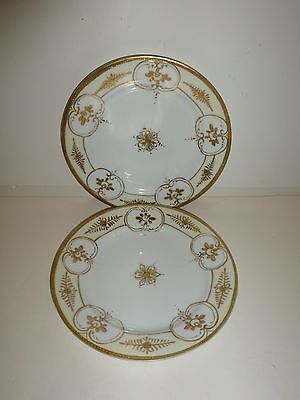 """Vintage Nippon Pair Plates, Raised Gold Tone Florals and Scrolls, 7-5/8"""""""