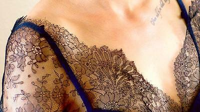 95 Antique French Berthe W Sleeves Black Silk Chantilly Lace Spitzen