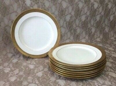 "2 MINTON for TIFFANY & CO Antique 9"" Luncheon Plates White & Gold Encrusted Rim"