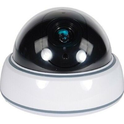 Dummy Fake Dome Security Camera With Flashing Red DEL Light And White Body