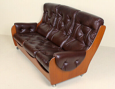 Vintage G Plan Sofa 3 Seater Teak Studio Couch Faux Leather Retro 60s 70s