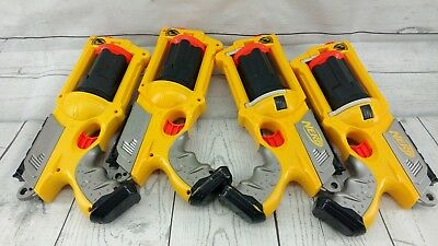 Lot of 4 Yellow Nerf N-Strike Maverick REV-6 Revolver Dart Gun No Darts